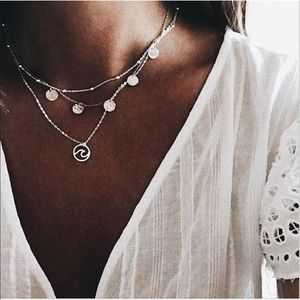 ⚬ NEW! Silver Pendant Layered Choker Necklace ⚬
